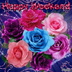 Consult PicMix Happy Weekend eigendom over PicMix. Bon Weekend, Good Morning Happy Weekend, Happy Weekend Quotes, Happy Morning Quotes, Weekend Humor, Good Morning Good Night, Happy Friday, Beautiful Flowers Images, Beautiful Love Pictures