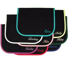 """I've always wanted a saddle pad with my name or my horse's name embroidered on it. I do have a saddle pad with a name embroidered on it, but unfortunately, it's neither mine nor my horse's! I bought it used online and it had """"Galan"""" embroidered into it. But it was too pretty to pass, so I bought it anyway. :P"""