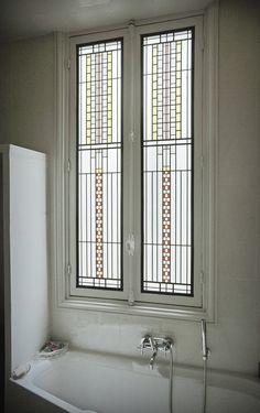 Bathroom Art Deco - Réalisation sur verre Imprimé 200 rapporté sur DV existant par collage silicone - films couleur et gélatines texturées - Honky Tonk Vitrail