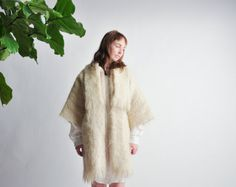 ossie ivory mohair scarf collar coat / #vintage kimono coat by persephonevintage