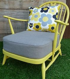 Mid Century Ercol Chair - I got one like this for $2 at a yard sale.. I like the colours... pinspiration!! :) Ercol Sofa, Ercol Furniture, Dream Furniture, Funky Furniture, Upcycled Furniture, Upholstered Chairs, Parker Knoll Chair, Knoll Chairs, Painted Chairs