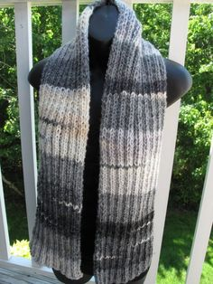 Another of the unisex scarves from my Rustic Ribs collection. This one is called Winter Birch Ribbed Scarf and was hand-knitted with a self-striping wool and acrylic blend yarn from Italy.