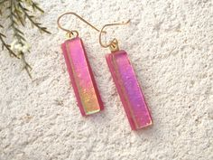 Golden Pink Earrings Lightweight Earrings Fused Glass by ccvalenzo