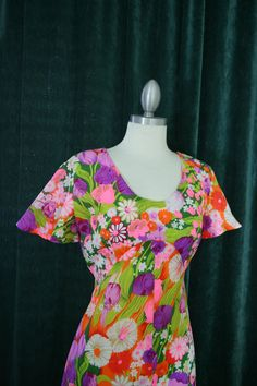 Vintage Neon Pink Psychedelic Floral by RedLightVintageShop
