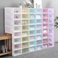 Shoe Box Organizer, Stackable Storage Boxes, Shoe Storage For Closet, Plastic Storage Trays, Shoe Drawer, Shoe Hanger, Internal Design, Plastic Shoes, Cleaning Closet