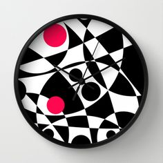 Its Not Just Black or White Wall Clock by Vikki Salmela - $30.00 #new #awesome #contemporary #wall #clock in #black #white #red #graphic #dots #art at #Society6! #Free #worldwide #shipping through #Sunday!