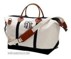 7ee01f451b42 Black Trim Monogram Canvas Carry On Weekend Duffle Bag Bridesmaids Bridal  Honeymoon Gift