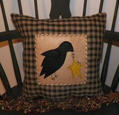 UNSTUFFED Primitive Crow Pillow Cover Decor Country Rustic Cabin Lodge Look Plaid Pillowcase Cushion Crow Barn Star Stitched wvluckygirl on Etsy, $15.99