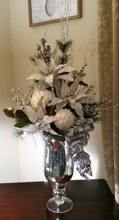 Christmas Floral, Silver & White Floral, White Poinsettias, Christmas Decor, Cardinal on the Mantel