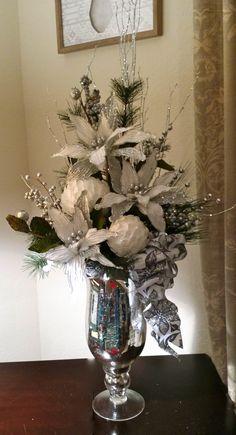 Christmas Floral, Silver & White Floral, White Poinsettias, Christmas Decor, Cardinal on the Mantel