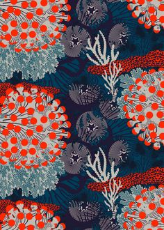 Graphic Design - Pattern Design - Tissus Marimekko Merivuokko Pattern Design : – Picture : – Description Tissus Marimekko Merivuokko -Read More – Art And Illustration, Illustrations, Surface Pattern Design, Pattern Art, India Pattern, Coral Pattern, Pattern Fabric, Textile Patterns, Print Patterns