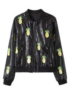 Black PU Embroidery Pineapple Pattern Long Sleeve Bomber Jacket