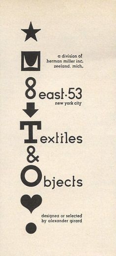 Textiles & Objects Ad, 1961