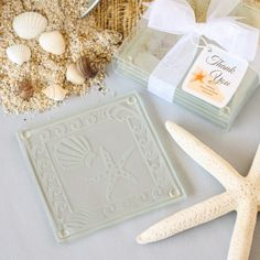 Shell Glass Coaster Wedding Favors Sets Of Two