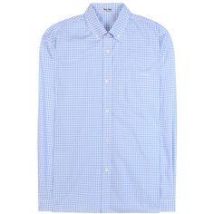 Miu Miu Gingham Cotton Shirt (14.330 CZK) ❤ liked on Polyvore featuring tops, blue, miu miu shirt, blue shirt, shirt top, gingham print shirt and miu miu