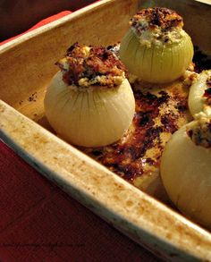 Bacon and Goat Cheese Stuffed Onions-Whole sweet stuffed onions with a simple filling of bacon, goat cheese and butter, these mild and salty onions make a great side dish or first course.