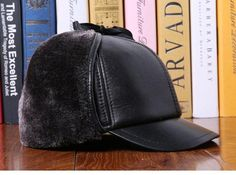 38c4751697e69 Men s Winter Hat Real Leather Furry Baseball Cap Earflaps Snapback Hats  Thicken Protective Ear Outdoor Male Big SizeHat