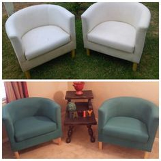 Diy fabric furniture painting. Painted these IKEA chairs using chalk paint.
