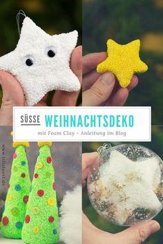 Süsse Weihnachtsdeko aus Foam Clay basteln. Also Tischdeko oder für den Weihnachtsbaum. Sterne, Weihnachtsbäume und mehr. Anleitung im Blog. #foamclay #bastelmitfoamclay #weihnachtsbaum #tischdeko #lilleluett #anleitung #weihnachten2017 #weihnachten #christmas #bastelnmitkindern #lebenmitkindern  #weihnachtsdiy #bastelnfürweihnachten #weihnachtsdeko #Weihnachtskugeln