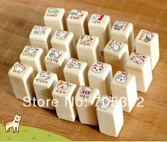 1set/lot Cute cat stamp set Wood stamp DIY funny work stamp Kids' gift office school supplies(ss-8717)