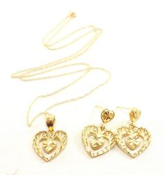 14k Solid Gold Heart Necklace Earring Set Diamond Cut Pendant Chain Earrings