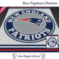 New England Patriots c2c graph crochet pattern; instant PDF download; bed…