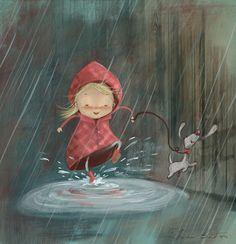 Happy rainy day by Susan Batori, via Behance. Cute and whimsical art. Art Fantaisiste, Illustration Mignonne, Art Mignon, Singing In The Rain, Children's Book Illustration, People Illustration, Whimsical Art, Bob Marley, Rainy Days