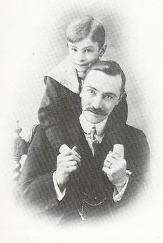 Norman Warne (1868-1905) with nephew Fred. Norman joined his father's publishing firm 'Frederick Warne & Co.'. In 1902, the company published Beatrix Potter's 'The Tale of Peter Rabbit' to great success. Norman became Potter's editor and they worked closely together on several subsequent books and spinoffs. In 1905 Warne proposed. Potter accepted, but a month later he died suddenly of leukemia. The relationship between Potter and Warne became the basis of the 2006 film 'Miss Potter'.