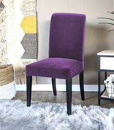 IKEA Henriksdal Dining Chair Cover, Purple Velvet   affordable, designer, custom, handmade, trendy, fashionable, locally made, high quality Ikea Dining Chair, Dining Chair Covers, Purple Velvet, Slipcovers, Accent Chairs, Luxury, Handmade, Furniture, Design