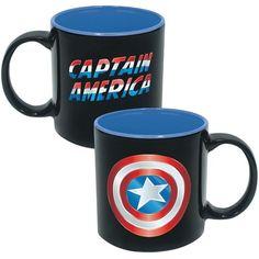 Icup Marvel Comics: Captain America Shield 20-oz. Mug ($13) ❤ liked on Polyvore featuring home, kitchen & dining, drinkware, marvel, wizard of oz mug and ceramic mug