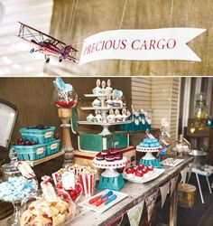 """Vintage Travel, precious cargo, airplane Baby Shower. Love the vintage airplane with """"precious cargo"""" banner hanging over the table. Lots of great ideas."""