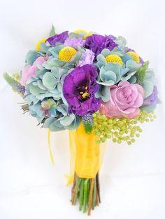 buchete de mireasa din hortensie si craspedia / hydrangea wedding bouquet