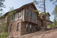 Barnwood and stone, timber supports