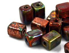 6 Mykonos Raku Beads  Raku Rectangle Tube  by CreateYourBliss