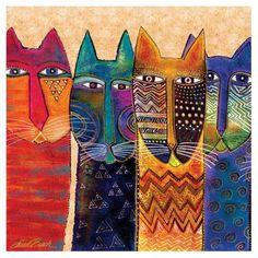 Laurel Burch Canvas Long Neck Felines Cats 15x15 Wall Art LB26006