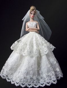 Fashion royalty Princess Wedding Dress Bride Gown+Veil+gloves for Barbie Doll Barbie Wedding Dress, Wedding Doll, Barbie Dress, Barbie Clothes, Bridal Dresses, Princess Wedding, Barbie Doll, Fashion Royalty Dolls, Fashion Dolls