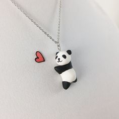 Panda Necklace // Polymer Clay Jewelry // Kawaii Panda Charm // Animal Necklace Gift for Her by CrownedClay on Etsy