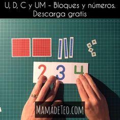 Gratis: set de números hasta el 9.000 y set de bloques de base tipo Montessori. Montessori Materials, Montessori Activities, Math For Kids, Fun Math, Kindergarten Math, Teaching Math, Math Exercises, Primary Maths, Math Projects
