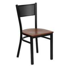 Flash Furniture Hercules Series Black Grid Back Metal Restaurant Chair, Wood Seat, Multiple Colors