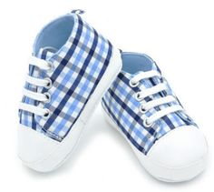 Baby Boy Pre Walker Soft Sole Shoes, Blue Checkered Shoes
