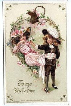 Winsch Valentines Day Flirting Couple 1914 Embossed Postcard