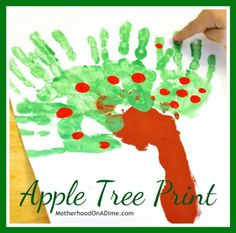 Apple Tree Print (with a footprint, handprints, and fingerprints)