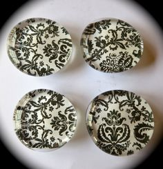 Black and White Lace Pattern Magnets