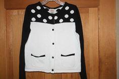 Gymboree Posh /& Playful White Sweater//Cardigan w//Dots Size 4 XS 5-6 S 7-8 M New