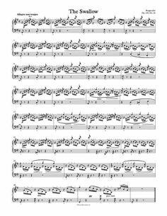 Free Piano Sheet Music - The Swallow Op. 100, No. 24 - Burgmuller. Enjoy! - 1 Page Version