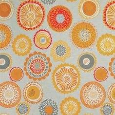 Fabric Width: Linda SjunnessonMaterial: Cotton & LinenPattern Repeat: SpiraBold stylised flower heads create a retro feel Yellow Fabric, Floral Fabric, Curtain Material, Roller Blinds, Color Combinations, Siri, Texture, Retro