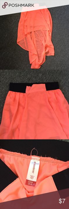 Neon Orange High Low Skirt Very bright orange high low skirt from No Boundaries! It fits comfortably! No Boundaries Skirts High Low