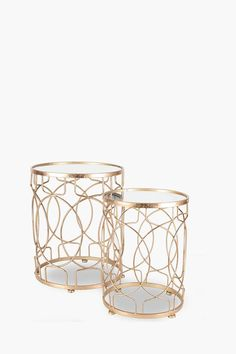 Geometric Nested Side Tables - Shop New In - Furniture - Shop Side Coffee Table, Metal Side Table, Side Tables, Metal Furniture, Living Room Furniture, Butler Tray, Cool Designs, Candle Holders, Contemporary