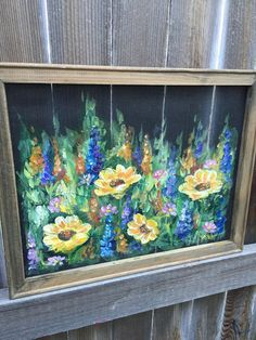 Items similar to Wild flowers with yellow flowers I, window screen, decor your outside porch, customize this for you on Etsy Painted Window Screens, Painted Window Art, Window Pane Art, Hand Painted, Window Hanging, Painted Wood, Yellow Flowers, Wild Flowers, Glass Flowers