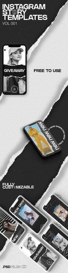 BW Instagram Story Template – Free Design Resources Cool Works, Social Media Banner, Instagram Story Template, Online Shopping Stores, Free Design, Photoshop, Templates, Stencils, Vorlage